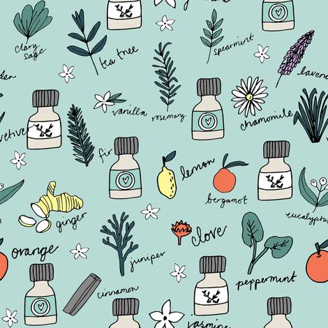 essential oils fabric // botanical essential oils design nature herbal medicine design - mint and orange fabric by andrea_lauren on Spoonflower - custom fabric