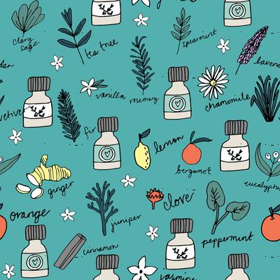 essential oils fabric // botanical essential oils design nature herbal medicine design - turquoise