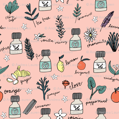 essential oils fabric // botanical essential oils design nature herbal medicine design - pink
