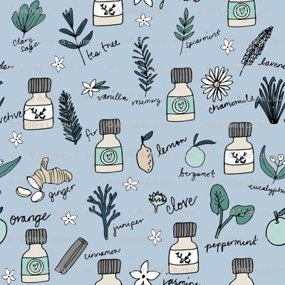 essential oils fabric // botanical essential oils design nature herbal medicine design - lavender
