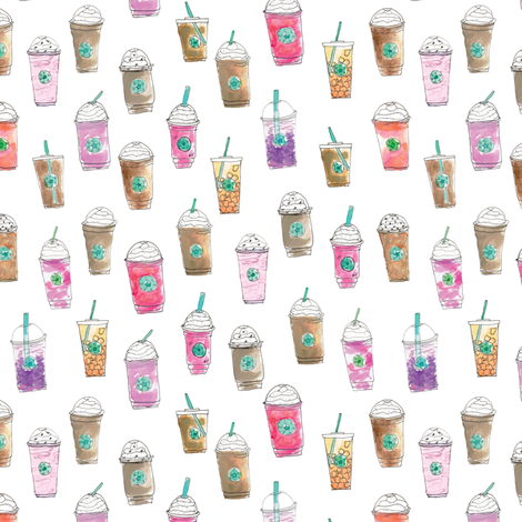 Coffee Cup Party in Marshmallow fabric by elliottdesignfactory on Spoonflower - custom fabric