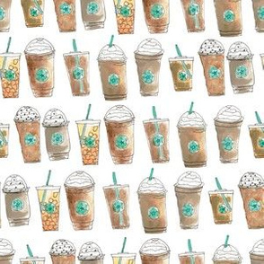 Coffee Cup Line Up in White Cream