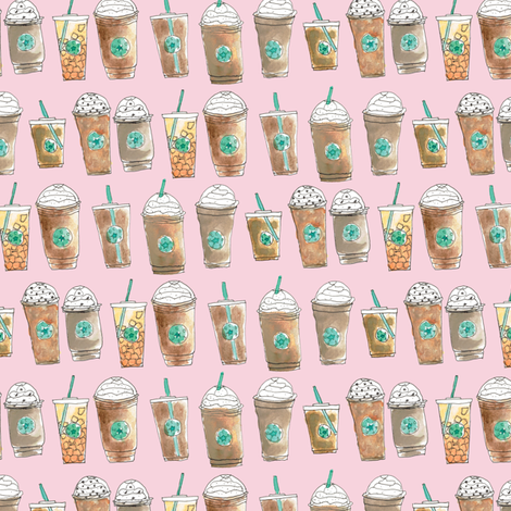 Coffee Cup Line Up in Pink Berry fabric by elliottdesignfactory on Spoonflower - custom fabric