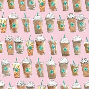 Coffee Cup Line Up in Pink Berry