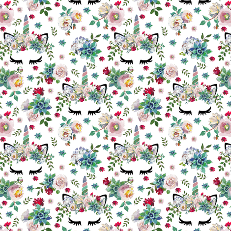 "1.75"" Succulent Unicorns White (small) fabric by lil'faye on Spoonflower - custom fabric"