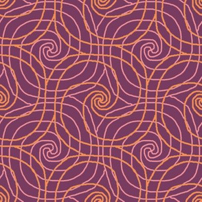 Coral and Mauve Overlapping Spirals