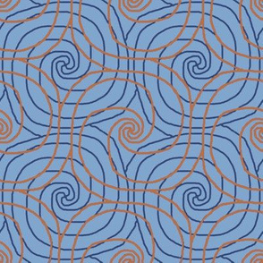 Blue and Orange Overlapping Spirals