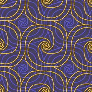 Navy and Yellow Overlapping Spirals