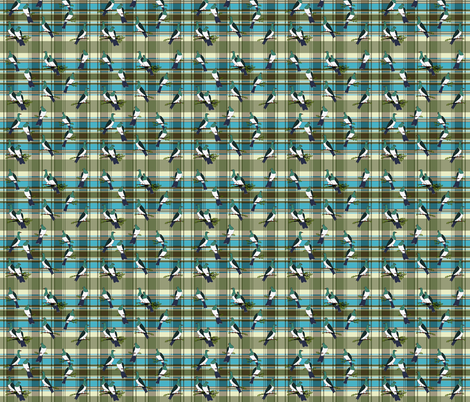 Kereru scatter on Autumn Plaid turquoise fabric by coppercatkin on Spoonflower - custom fabric