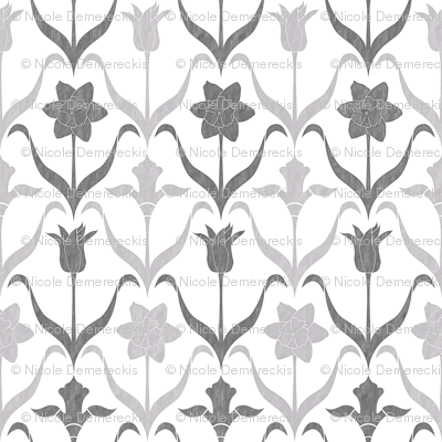 Spring Flower Bulbs in Bloom Lrg White Grey