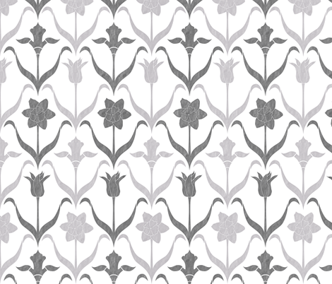 Spring Flower Bulbs in Bloom Lrg White Grey fabric by wickedrefined on Spoonflower - custom fabric