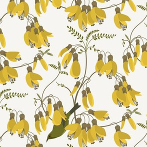 Vintage Kowhai with Bellbirds