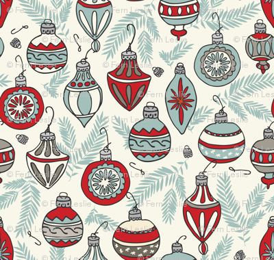 Christmas Ornaments - Red, Light Blue, Ivory