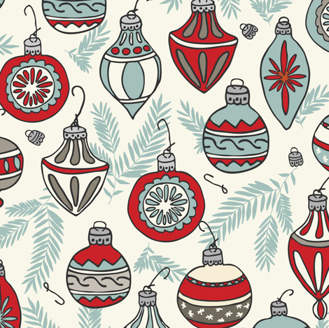 Christmas Ornaments - Red, Light Blue, Ivory fabric by fernlesliestudio on Spoonflower - custom fabric