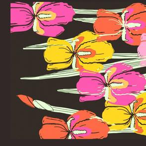 Retro block print irises tea towel