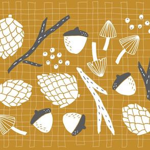 Woodland Tea Towel - Mustard