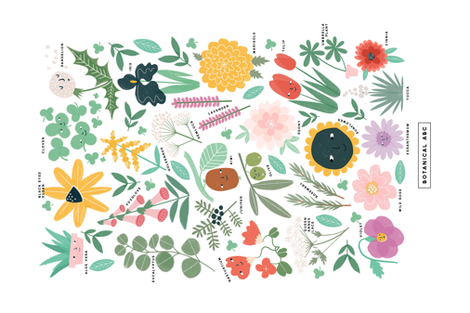 Botanical Alphabet fabric by anda on Spoonflower - custom fabric