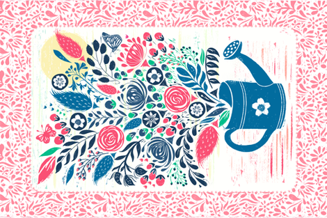 Botanical Block Print Flowers fabric by jill_o_connor on Spoonflower - custom fabric