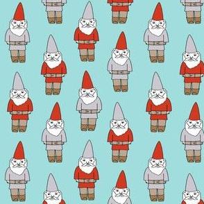 gnome fabric // winter christmas gnomes elves design mythical magic fantasy - light blue