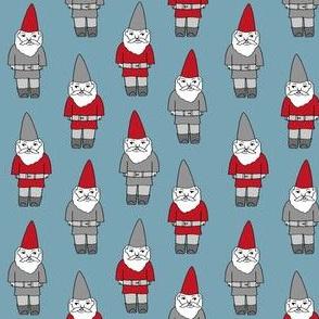 gnome fabric // winter christmas gnomes elves design mythical magic fantasy - med blue