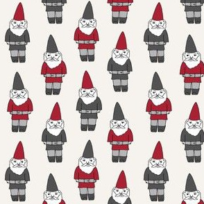gnome fabric // winter christmas gnomes elves design mythical magic fantasy - grey and red