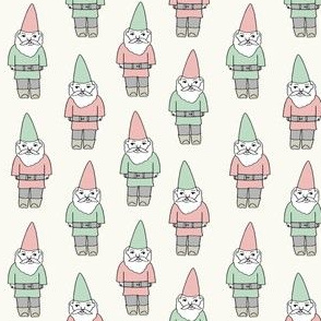 gnome fabric // winter christmas gnomes elves design mythical magic fantasy - pastel