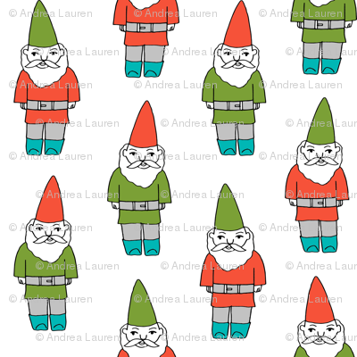gnome fabric // winter christmas gnomes elves design mythical magic fantasy - bright