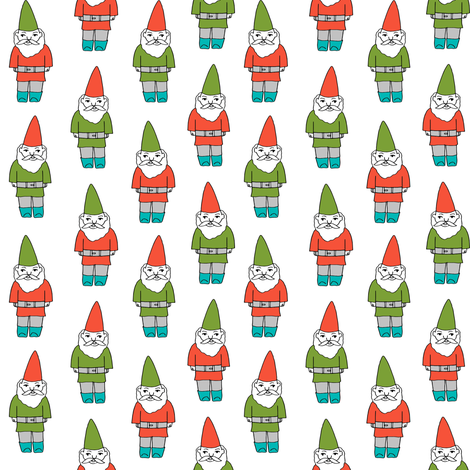 gnome fabric // winter christmas gnomes elves design mythical magic fantasy - bright  fabric by andrea_lauren on Spoonflower - custom fabric