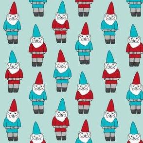 gnome fabric // winter christmas gnomes elves design mythical magic fantasy - blues