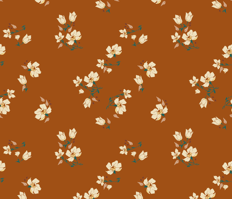vintage_floral_sienna fabric by holli_zollinger on Spoonflower - custom fabric