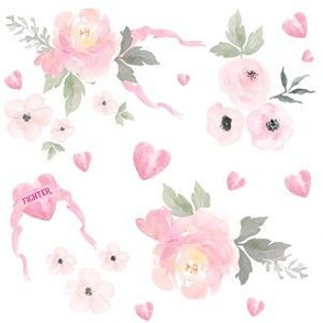 """6"""" Fighter Pink Flowers with Ribbon"""