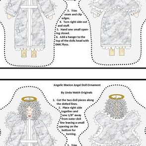 Angel Angelic Marion Cut and Sew Doll  Ornament Fabric