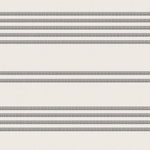 Grey ticking on cream offwhite gray stripes