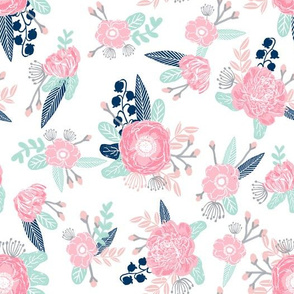 florals - pink, navy, mint florals painted blooms
