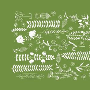 Forever Green Botanical Print Tea Towel