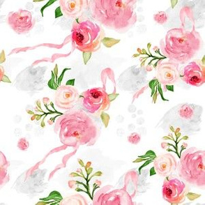 """6"""" Bright Pink Florals with Ribbon / Splashes"""