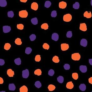 orange and purple dots fabric