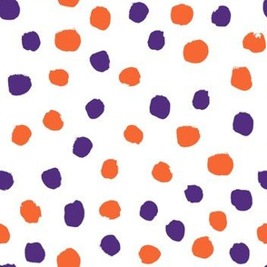 orange and purple dots fabric