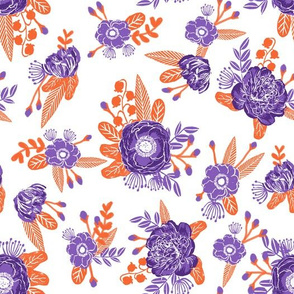 orange and purple florals - clemson colors