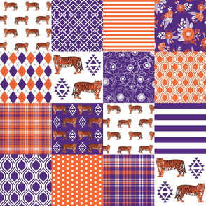clemson cheater quilt - orange and purple tigers