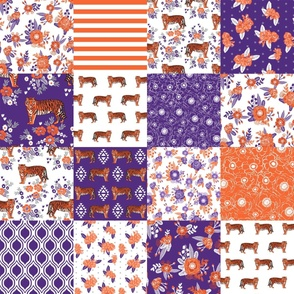 clemson cheater quilt - tiger florals fabric - orange and purple