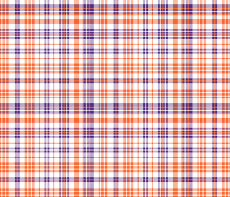 orange and purple plaid fabric clemson fabric by charlottewinter on Spoonflower - custom fabric