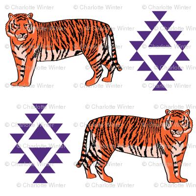 tiger fabric - orange and purple mascot design