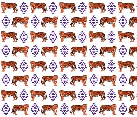 tiger fabric - orange and purple mascot design fabric by charlottewinter on Spoonflower - custom fabric