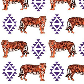 tiger fabric - orange and purple mascot design