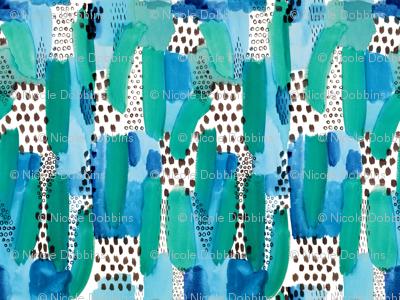 Abstract Watercolor Brushstroke in Blue Green