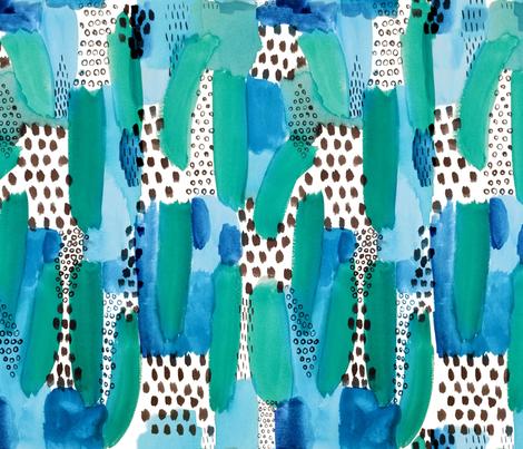 Abstract Watercolor Brushstroke in Blue Green fabric by nicoledobbins on Spoonflower - custom fabric