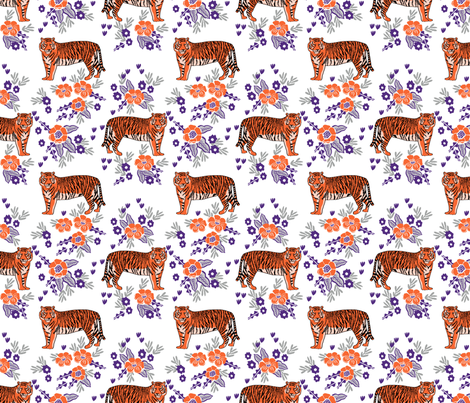 tiger fabric - orange and purple mascot design - florals fabric by charlottewinter on Spoonflower - custom fabric