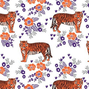 tiger fabric - orange and purple mascot design - florals