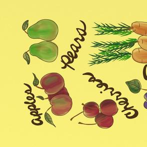 Watercolor Produce Tea Towel